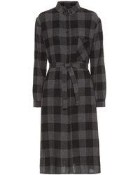 Woolrich Checked Wool-blend Midi Dress - Gray