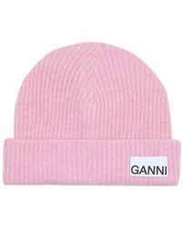 Ganni Berretto in lana - Rosa