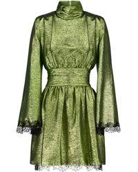 Dundas Robe en lamé de soie mélangée à dentelle - Vert
