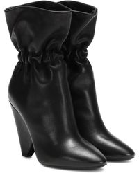 Saint Laurent Niki 105 Leather Ankle Boots - Black