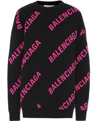 Balenciaga Allover Logo Wool-blend Sweater - Black