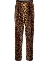 Khaite Magdeline Cheetah-print Velvet Trousers - Brown