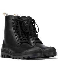 Loewe Leather Combat Boots - Black