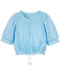 Melissa Odabash Top Francesca en coton à broderies anglaises - Bleu