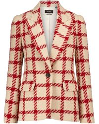 Isabel Marant Kioa Checked Wool-blend Blazer - Red