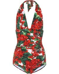 Dolce & Gabbana Floral Halter Swimsuit - Red
