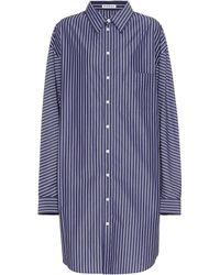 Balenciaga Oversized Striped Cotton Shirt Dress - Blue