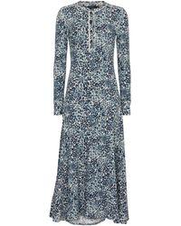 Polo Ralph Lauren Bedrucktes Midikleid aus Baumwolle - Blau