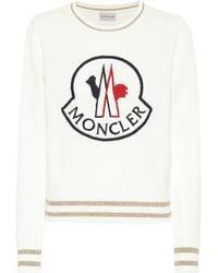 Moncler Jersey de lana y cachemir con logo - Blanco