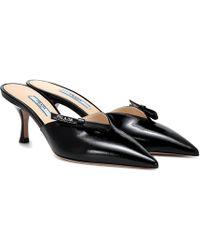 7576a88111 Marni Saffiano Calfskin Leather Platform Wedge Sandal in Black - Lyst
