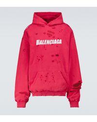 Balenciaga Caps Destroyed Hooded Sweatshirt - Red