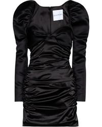 Halpern Gathered Satin Minidress - Black