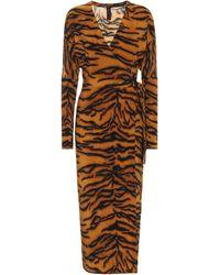 Norma Kamali Exclusivo en Mytheresa – vestido con estampado de tigre - Naranja