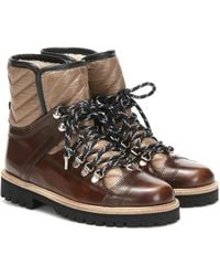 Ganni Exclusive To Mytheresa – Winter Hiking Leather Ankle Boots - Brown