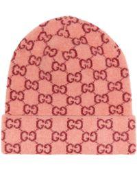 Gucci GG Logo-jacquard Wool Beanie Hat - Multicolour