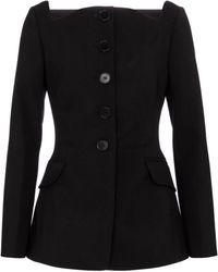 Carolina Herrera Square-neck Wool-blend Blazer - Black