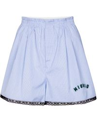 Miu Miu Checked Cotton-poplin Shorts - Blue