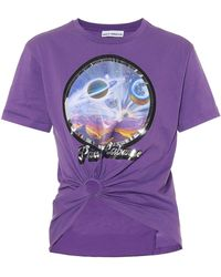 Paco Rabanne Esclusiva Mytheresa - T-shirt in cotone con stampa - Viola