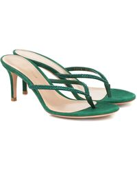Gianvito Rossi India 70 Suede Thong Sandals - Green