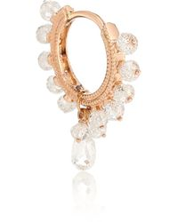 Maria Tash 18kt Rose Gold Hoop Single Earring With Diamonds - Metallic