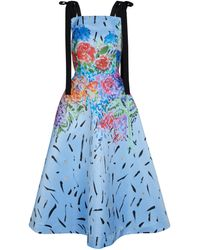 Christopher Kane Floral Satin Midi Dress - Blue
