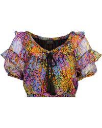 Dundas Printed Metallic Silk Crop Top - Multicolour