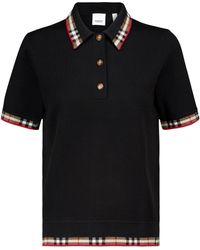 Burberry Merino Wool-blend Polo Top - Black
