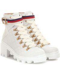Gucci Ankle Boots Trip aus Leder - Mehrfarbig