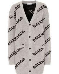 Balenciaga Intarsia Wool-blend Cardigan - Grey