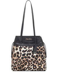 Miu Miu - Leopard-print Shoulder Bag - Lyst