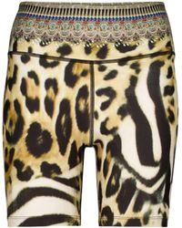 Camilla Leopard-print Biker Shorts - Brown