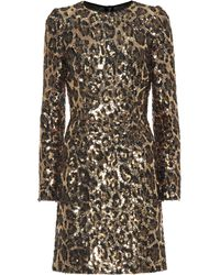 Dolce & Gabbana - Sequined Leopard Minidress - Lyst