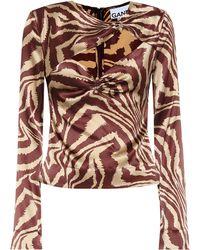 Ganni Tiger-print Stretch-silk Blouse - Multicolor