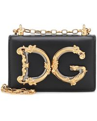 Dolce & Gabbana Sac à bandoulière DG Girls Mini en cuir - Noir