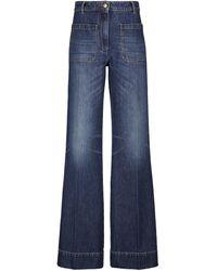 Victoria Beckham High-Rise Jeans Alina mit weitem Bein - Blau