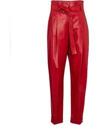 Philosophy Di Lorenzo Serafini Pantalon paper bag en cuir synthétique - Rouge