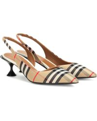 Burberry Leticia Archive Check Slingback Court Shoes - Natural
