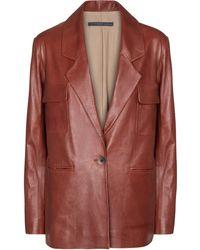 Zeynep Arcay Leather Blazer - Red