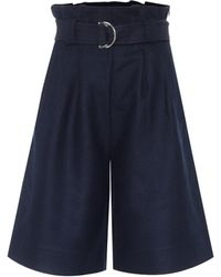 Ganni Wool-blend Bermuda Shorts - Blue