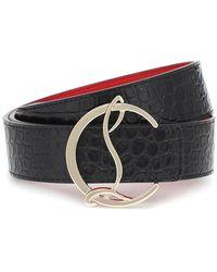 Christian Louboutin Cintura CL Logo in pelle stampata - Nero