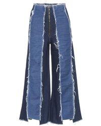 Rejina Pyo Bella Hoch Sitzende Jeans Mit Verkürztem Weitem Bein In Distressed-optik - Blau
