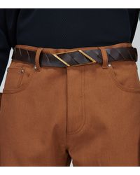 Bottega Veneta Intrecciato Diagonal Buckle Belt - Brown