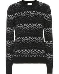 Saint Laurent - Pullover a zigzag in misto lana con lamé - Lyst