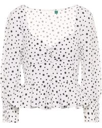 RIXO London Sameera Printed Linen-blend Top - White