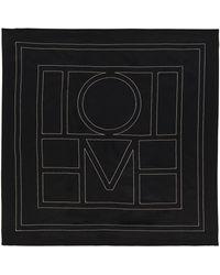 Totême Pañuelo de seda con logo - Negro