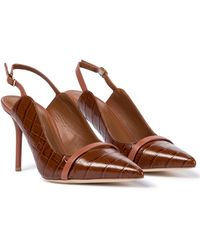 Malone Souliers Marion 85 Leather Slingback Pumps - Brown