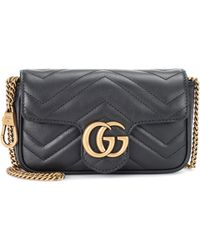 Gucci Gg Marmont Super Mini Quilted Leather Shoulder Bag - Black