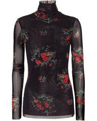 Ganni Floral Mesh Turtleneck Top - Black