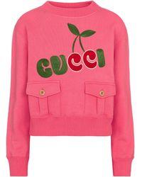 Gucci Logo Cotton Jersey Sweatshirt - Pink