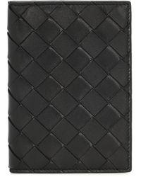 Bottega Veneta Étui à passeport en cuir intrecciato - Noir